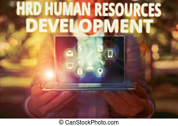 Writing note showing Hrd Huanalysis Resources Development. ...