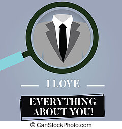 Writing note showing I Love Everything About You. Business ...