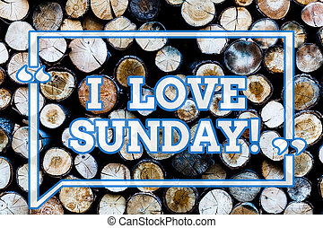 Writing note showing I Love Sunday. Business photo showcasing To have affection for the weekend happy excited relax Wooden background vintage wood wild message ideas intentions thoughts.