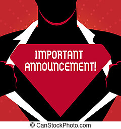 Writing note showing Important Announcement. Business photo showcasing A significant public notification or declaration Man Opening his Shirt to reveal the Blank Triangular Logo.