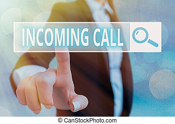 Writing note showing Incoming Call. Business photo showcasing Inbound Received Caller ID Telephone Voicemail Vidcall.