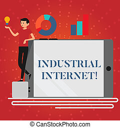 Writing note showing Industrial Internet. Business photo showcasing use of the internet of things in industrial sectors Man Leaning on Smartphone Turned on Side Graph and Idea Icon.