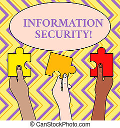 Writing note showing Information Security. Business photo showcasing INFOSEC Preventing Unauthorized Access Being Protected Three Colored Empty Jigsaw Puzzle Pieces Held in Different People Hands.