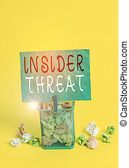 Writing note showing Insider Threat. Business photo showcasing security threat that originates from within the organization Trash bin crumpled paper clothespin office supplies yellow.