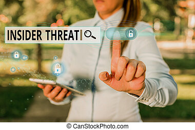 Writing note showing Insider Threat. Business photo showcasing security threat that originates from within the organization.