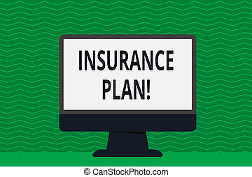 Writing note showing Insurance Plan. Business photo showcasing provide benefits like risk cover fixed income return safety Desktop Computer Colorful Monitor Screen Freestanding Table.