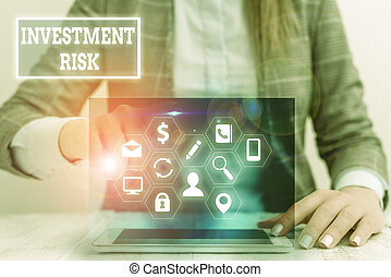Writing note showing Investment Risk. Business concept for potential financial loss inherent in an investment decision