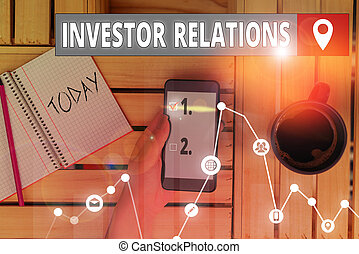 Writing note showing Investor Relations. Business photo ...