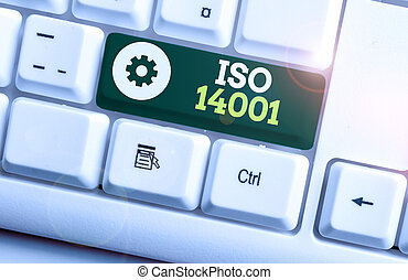 Writing note showing Iso 14001. Business photo showcasing a ...