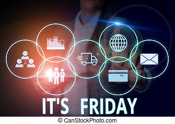 Writing note showing It S Friday. Business concept for Last day of the working week Before Saturday or weekends Woman wear formal work suit presenting presentation using smart device