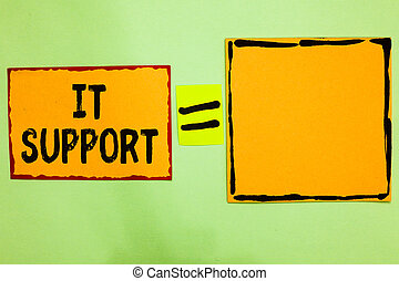 Writing note showing It Support. Business photo showcasing...