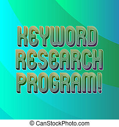 Writing note showing Keyword Research Program. Business photo showcasing Fundamental practice in search engine optimization Blank Diagonal Curve Strip Monochrome Color in Seamless Repeat Pattern.