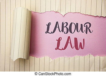 Writing note showing  Labour Law. Business photo showcasing Employment Rules Worker Rights Obligations Legislation Union written on the pink background behind Tear Notebook Paper.
