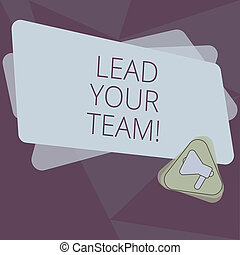 Writing note showing Lead Your Team. Business photo showcasing Be a good leader to obtain success and accomplish goals Megaphone Inside Triangle and Blank Color Rectangle for Announcement.