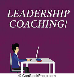 Writing note showing Leadership Coaching. Business concept for individualized process that builds a leader s is capability Businessman Sitting on Chair Working on Computer and Books