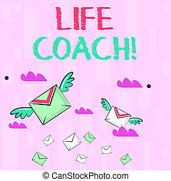 Writing note showing Life Coach. Business photo showcasing demonstrating employed to help showing attain their goals career Colorful Airmail Letter Envelopes and Two of Them with Wings.