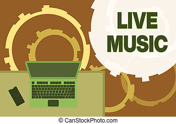 Writing note showing Live Music. Business photo showcasing ...