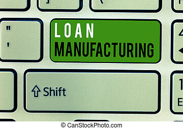 Writing note showing Loan Manufacturing. Business photo...