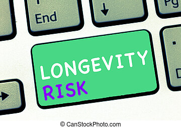 Writing note showing Longevity Risk. Business photo showcasing Potential threat due to increasing lifespan of pensioners