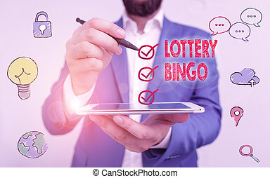 Writing note showing Lottery Bingo. Business photo showcasing game of chance in which each player matches numbers printed.