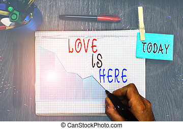 Writing note showing Love Is Here. Business photo showcasing...