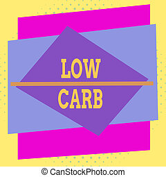 Writing note showing Low Carb. Business photo showcasing ...
