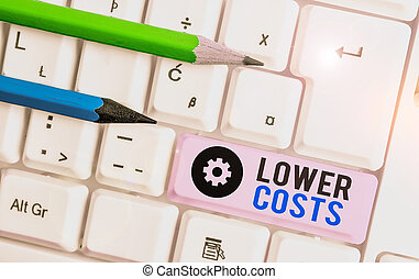 Writing note showing Lower Costs. Business concept for the business sets low price to enhance theproduct deanalysisd