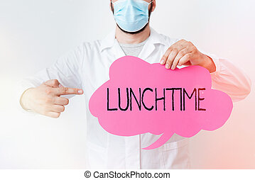 Writing note showing Lunchtime. Business photo showcasing ...