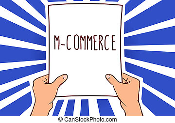 Writing note showing M Commerce. Business photo showcasing...