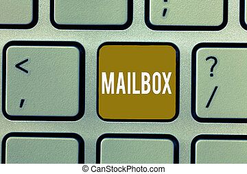 Writing note showing Mailbox. Business photo showcasing Box mounted on post where mail is delivered Computer file for email