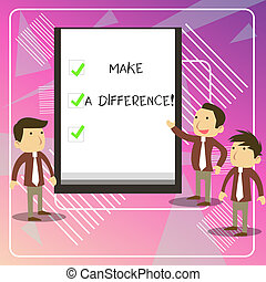 Writing note showing Make A Difference. Business photo ...
