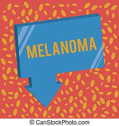 Writing note showing Melanoma. Business photo showcasing A...