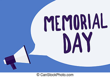 Writing note showing Memorial Day. Business photo showcasing To honor and remembering those who died in military service Megaphone loudspeaker speech bubble important message speaking loud.