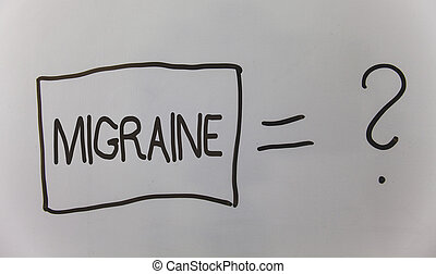 Writing note showing Migraine. Business photo showcasing Recurrent headache in one side of head nausea and disturbed vision Question answer equal plane light background problem calculation board.