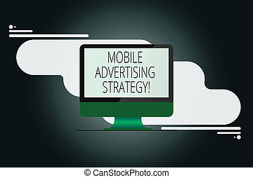Writing note showing Mobile Advertising Strategy. Business photo showcasing marketing business to plea to mobile device user Mounted Computer Monitor Blank Reflected Screen on Abstract Background.