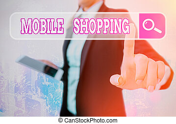 Writing note showing Mobile Shopping. Business photo ...