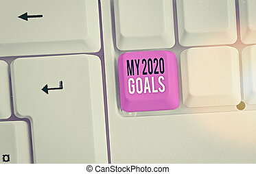 Writing note showing My 2020 Goals. Business photo ...