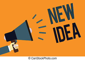 Writing note showing New Idea. Business photo showcasing A thought or conception refer to a product of mental activity Megaphone loudspeaker screaming scream idea talk talking speech listen.