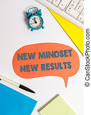 Writing note showing New Mindset New Results. Business photo showcasing obstacles are opportunities to reach achievement.