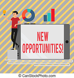 Writing note showing New Opportunities. Business photo showcasing exchange views condition favorable for attainment goal Man Leaning on Smartphone Turned on Side Graph and Idea Icon.