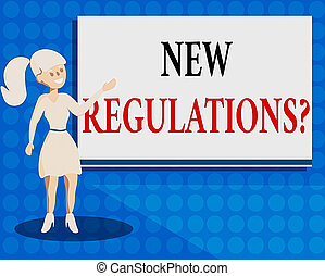 Writing note showing New Regulations Question. Business ...