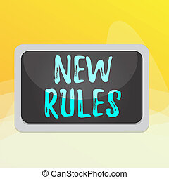Writing note showing New Rules. Business concept for recently one of a set of explicit or understood regulations Board rectangle white frame empty blank space fixed color surface plank