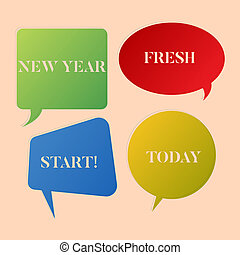 Writing note showing New Year Fresh Start. Business photo showcasing Time to follow resolutions reach out dream job Speech Bubble Sticker in Different Shapes and Multiple Chat.
