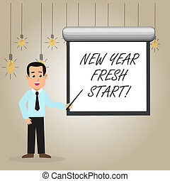 Writing note showing New Year Fresh Start. Business photo showcasing Time to follow resolutions reach out dream job Man in Necktie Holding Stick Pointing White Screen on Wall.