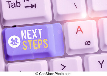 Writing note showing Next Steps. Business photo showcasing something you do or plan after you ve finished something else Keyboard with note paper on white background key copy space.