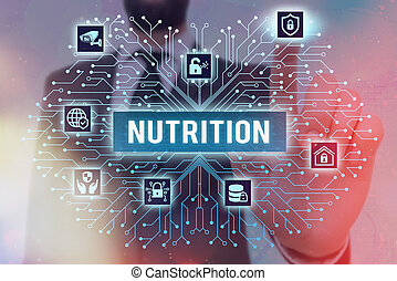 Writing note showing Nutrition. Business concept for act or process of nourishing or being nourished by nutrients System administrator control, gear configuration settings tools concept