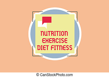 Writing note showing Nutrition Exercise Diet Fitness. ...