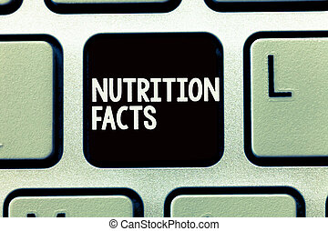 Writing note showing Nutrition Facts. Business photo showcasing Detailed information about the nutrients of the food