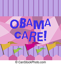 Writing note showing Obama Care. Business photo showcasing Government Program of Insurance System Patient Protection.