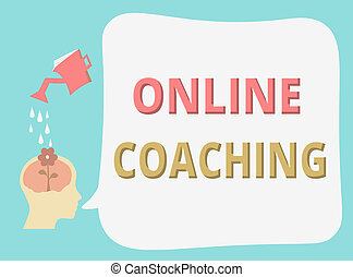 Writing note showing Online Coaching. Business photo...